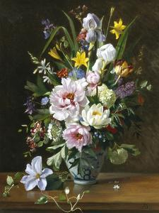 Still Life with Clematis, Honeysuckle and Peonies by Augusta Dohlmann