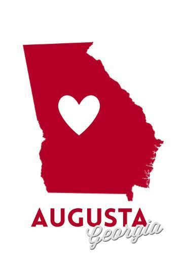 Augusta, Georgia - Heart Design-Lantern Press-Art Print