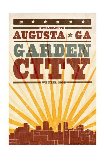 Augusta, Georgia - Skyline and Sunburst Screenprint Style-Lantern Press-Art Print