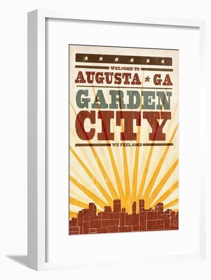 Augusta, Georgia - Skyline and Sunburst Screenprint Style-Lantern Press-Framed Art Print