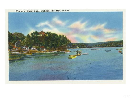 Augusta, Maine - View of Lake Cobbosseecontee in Pernette Cove-Lantern Press-Art Print