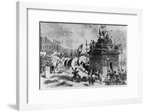 The Vendome Column Just after its Fall by Auguste Andre Lancon
