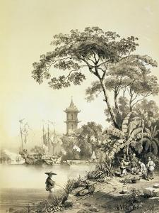 A Pagoda on the Macao-Canton Canal, Plate 21 from 'Sketches of China', Engraved by Eugene Ciceri by Auguste Borget
