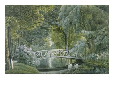 """""""Malmaison.Vue du pont de bois sur la rivière à la gauche du château"""""""