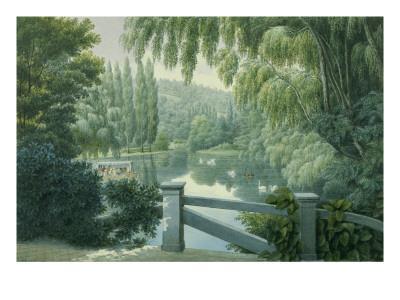 Vue de Malmaison : promenade des dames d'honneur sur la rivière.