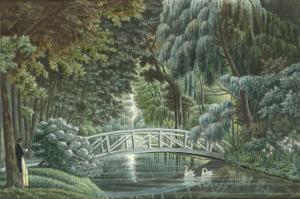 Vue  de Malmaison : vue du château prise du pont de pierre by Auguste Garneray