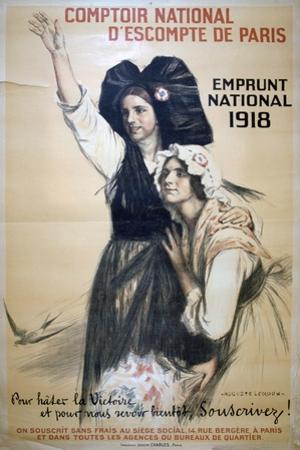 Comptoir National D'Escompte De Paris, French World War I Poster, 1918 by Auguste Leroux