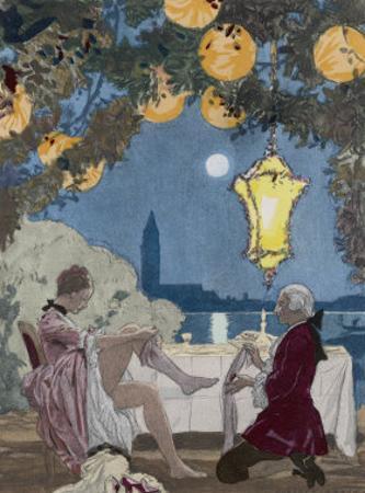 Giovanni Giacomo Casanova Chevalier de Saingalt Italian Adventurer Helps C C with Her Stockings by Auguste Leroux