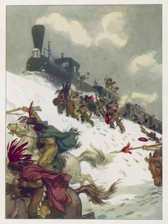 Le Tour du Monde En 80 Jours, The Travellers' Train is Attacked by Sioux by Auguste Leroux