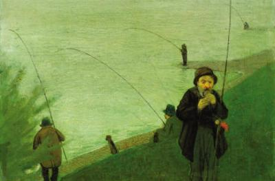 Anglers On The Rhine by Auguste Macke