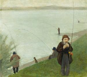 Fishermen at the Rhine River, 1905 by Auguste Macke