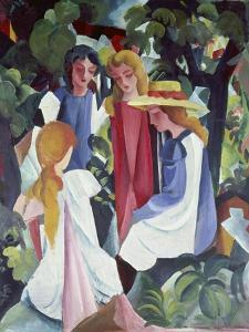 Four Girls, about 1912/13 by Auguste Macke