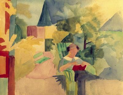 Garden with Woman Reading