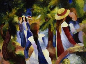 Girls under Trees, 1914 by Auguste Macke