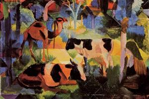 Landscape with Cows and Camels by Auguste Macke