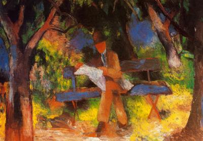 Lesender Mann in Park, c.1914