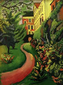 Our garden with flowering borders by Auguste Macke