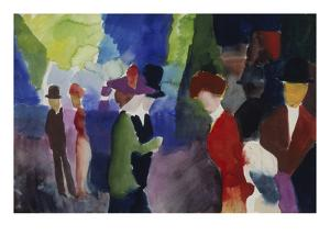 People, Coming across Each Other, 1913 by Auguste Macke