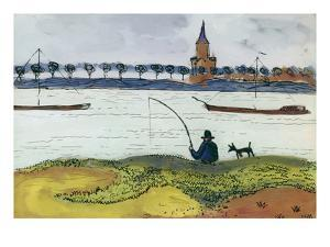 River Landscape with Angler, 1911 by Auguste Macke