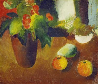 Stilleben Mit Begonie, Aepfeln Und Birne, 1914
