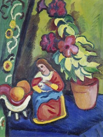 Stilleben Mit Madonna, Petunie Und Aepfeln, 1911