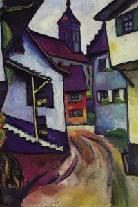 Street with a Church In Kinder by Auguste Macke