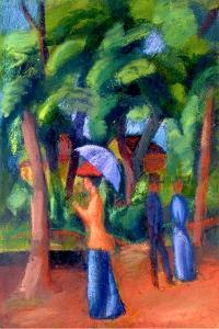 Walking in the Park, 1914 by Auguste Macke