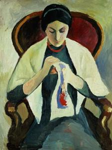 Woman Sewing by Auguste Macke