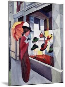 Woman with Parasol in Front of a Hat Shop, 1914 by Auguste Macke