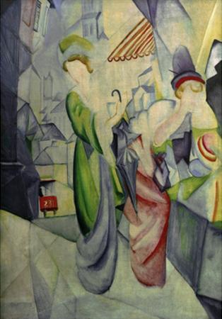 Women in front of hat shop