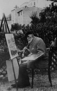Auguste Renoir peignant devant  la Maison de la Poste à Cagnes