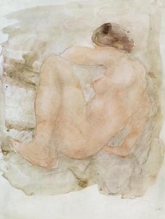 Female nude (pencil and w/c on paper) by Auguste Rodin