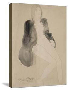 Femme assise nue sous une veste by Auguste Rodin