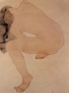 Seated Nude Bending over by Auguste Rodin