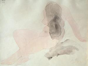 Seated Nude with Dishevelled Hair (W/C on Paper) by Auguste Rodin