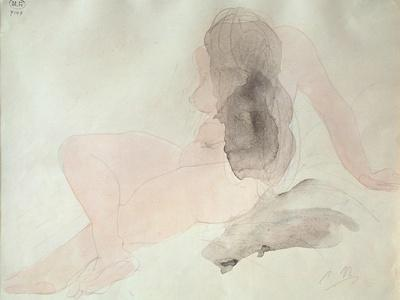 Seated Nude with Dishevelled Hair (W/C on Paper)
