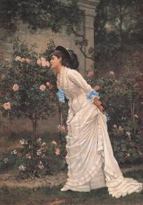 Girl and Roses by Auguste Toulmouche