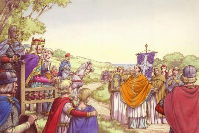 Augustine Facing King Ethelbert and His Queen, Bertha-Pat Nicolle-Giclee Print
