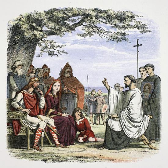 Augustine preaching before King Ethelbert, 597 (1864)-James William Edmund Doyle-Giclee Print