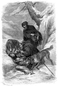 Augustinian Canons and their St Bernard Dogs Rescuing a Traveller, Switzerland