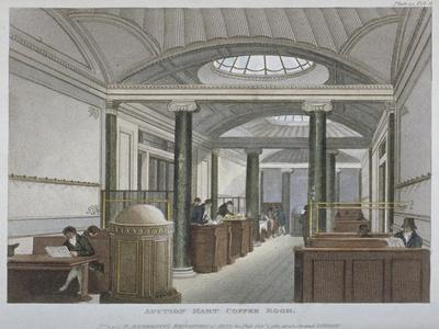 Interior View of the Coffee Room at the Auction Mart, Bartholomew Lane, City of London, 1811