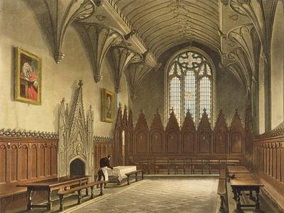Interior View of the Hall of University College from the 'History of Oxford'