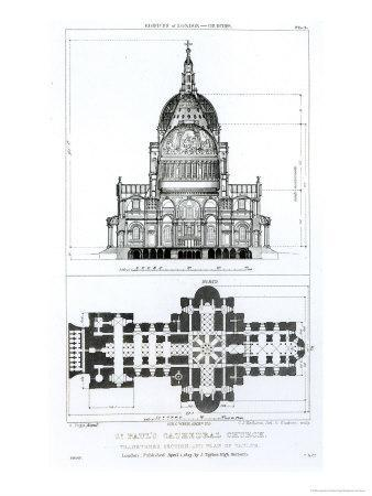 St. Paul's Cathedral and Plan of the Vaults, Engraved by c. J. Mathews and G. Gladwin, Pub.1823
