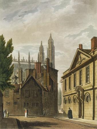 Trinity Hall, Cambridge, from The History of Cambridge, Engraved by Joseph Constantine Stadler