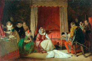 Queen Elizabeth In A Rage (oil on canvas, re-lined by Augustus Leopold Egg