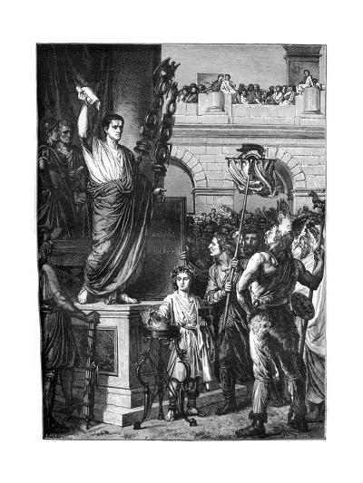 Augustus Presents the Constitution, Lyon, France, 10 BC-Emile Thomas-Giclee Print