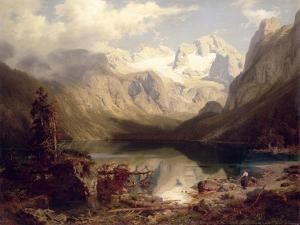 An Extensive Alpine Lake Landscape, 1862 by Augustus Wilhelm Leu