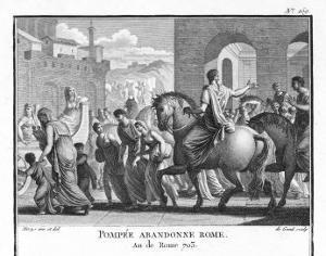Hearing That Julius Caesar Has Crossed the Rubicon Pompeius Flees Rome by Augustyn Mirys