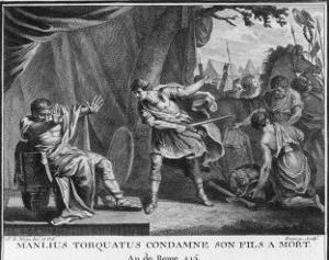 Manlius Torquatus Condemns His Own Son to Death for Engaging in Unlawful Single Combat by Augustyn Mirys