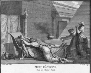 Marcus Antonius Believing Cleopatra Dead Kills Himself to Cleopatra's Distress by Augustyn Mirys